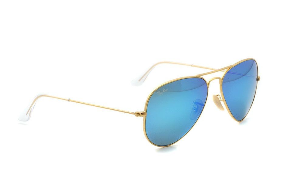 ray ban aviator large metal sonnenbrille gold blau. Black Bedroom Furniture Sets. Home Design Ideas